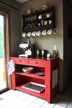 coffee bar ideas | ... coffee bar. Color: Crimson Red. Coffee shelf from DelHutsonDesigns via