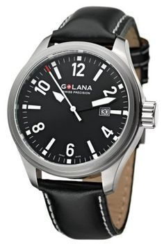Golana Swiss Men's TE100-1 Terra Pro 100 Quartz Watch Golana Swiss. $121.50. Sapphire coated crystal. Brushed stainless steel case, black with white stitching leather band. Fixed bezel, three hand, date. Pull and push fluted crown. Water resistant up to  330 feet (100 M). Save 55%!