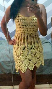 Crochet patterns for women cardigans summer tops 61 Ideas Crochet Beach Dress, Crochet Summer Dresses, Black Crochet Dress, Crochet Skirts, Crochet Cardigan, Crochet Clothes, Pull Crochet, Crochet Lace, Crochet Bikini Pattern