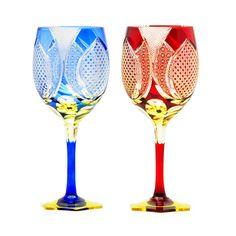 edokiriko traditional Japanese glass art cut glass made by Hanashyo(Tokyo) wine glass江戸切子 華硝 ワイングラス