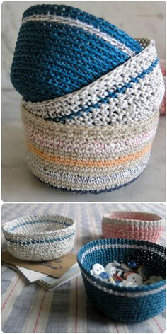 I am going to show you some #crochet #basket patterns which will increase your home décor!Mini Crochet Baskets