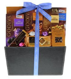 A delicious way to show your heart-felt gratitude. Send your thank you wishes with this offering of assorted Godiva chocolate, topped with a hand-tied thank you Gourmet Gifts, Food Gifts, Gourmet Recipes, Thank You Gift Baskets, Thank You Gifts, Dark Chocolate Truffles, Chocolate Gifts, Themed Gift Baskets, Valentine Chocolate