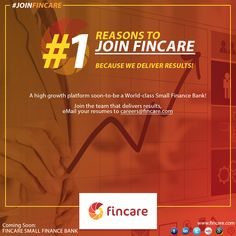 Join the banking revolution... Email your resumes to careers@fincare.com #JoinFincare
