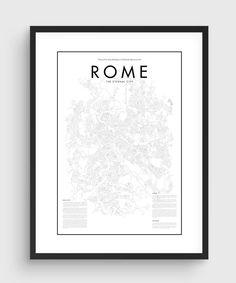 Minimal Rome Map Poster Black & White Minimal Print by PurePrint
