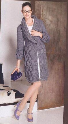 Вязанное польто с шалевым воротником - Жакеты,полуверы, свитера