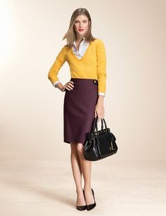 The Limited is one of my favorite stores and I especially love this look they've put together.  The plum and yellow looks great.  I have the plum H&M skirt that I'd like to pair with my yellow sweater over a white blouse.  Some simple gold jewelry and black pointed pumps should round it out well.