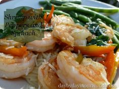 Shrimp with Peppers and Spinach featured at Day by Day in Our World #recipe #ValentinesDay #DateNight