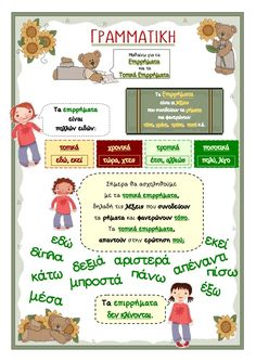 ΤΟΠΙΚΑ ΕΠΙΡΡΗΜΑΤΑ Early Education, Special Education, Learn Greek, Grammar Exercises, Greek Language, Alphabet, First Grade Reading, Learning Process, Language Activities