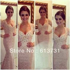 2014 New Fashion Sexy V Neck Long Sleeves Beige Lace Crystal Beaded Mermaid Prom Dresses Evening Gowns Floor Length