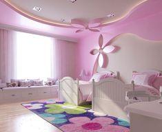Kids furniture girls room decor ideas for 2019 Light Pink Bedrooms, Pink Bedroom Walls, Girls Bedroom, Pink Walls, House Ceiling Design, Bedroom False Ceiling Design, Bedroom Ceiling, Kids Bedroom Designs, Kids Room Design