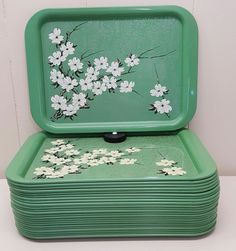 Green Floral Trays 24 pc TV Lap Serving Vintage Metal 14x10 Mid Century Mod | Collectibles, Kitchen & Home, Kitchenware | eBay!