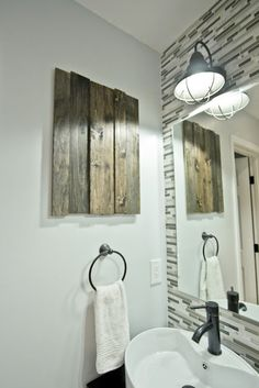 DIY wood art maybe to cover a built in medicine cabinet? :)