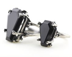 Bloodmilk Onyx 'Easeful Death' coffin rings in both the large { left } & mini sizes