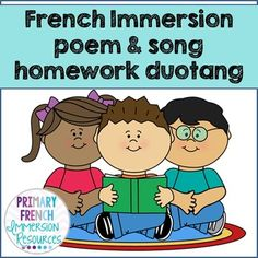 French Immersion homework duotang - poems and songs.Everything you need to set up a homework duotang for grades 1 and 2 French Immersion! Spanish Teaching Resources, Learning Spanish, French Resources, School Resources, Classroom Resources, French Poems, French Flashcards, Kindergarten Music, French For Beginners