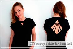 Diy cut up t-shirt with template funniest thing : diy and unique pieces Cut Up T Shirt, Cut Shirts, Fashion Sewing, Diy Fashion, Fashion Tips, Fashion Ideas, Diy Clothing, Custom Clothes, Diy Clothes Accessories