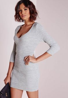 e20e9796e2 Missguided - deep plunge knitted mini dress grey marl Bodycon Fashion