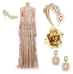 """Isabel"" by emma-toroaksk ❤ liked on Polyvore featuring Theia, Dolce&Gabbana, Oscar de la Renta and Jimmy Choo"