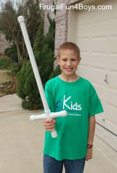 Two summers ago, we got some PVC pipe and various connectors and let the boys build their own PVC sprinklers in the back yard. Gresham (age 4 at the time) turned some of the pieces into this sword design which he loved and carried around all the time! Most of the PVC pieces were lost …