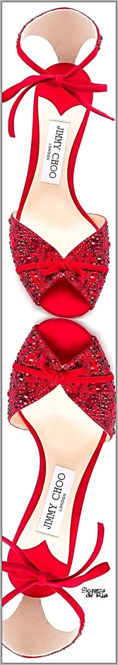 #jimmychoo Jimmy Choo #red #satin #stud #embellished #sandal Red Satin Stud Embellished Sandal #eleganzadiria Eleganza di Ria