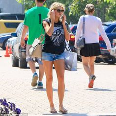 Standing out: Charlotte McKinney showed off her toned legs in tiny denim shorts as she shopped in Malibu, California on Sunday