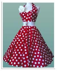 Red and white polka dots and a belted waist with a stretch wide belt.
