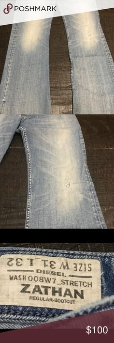 Diesel Men's light denim jeans Light wash Men's Diesel designer jeans. 5 button front. Diesel Jeans Bootcut