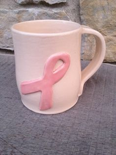 White Breast Cancer Awareness Mug by DragonflyPotteryCom on Etsy