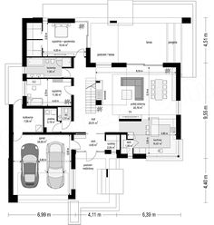 Projekt domu Hiacynt 210,18 m2 - koszt budowy - EXTRADOM Architectural Floor Plans, River House, Planer, House Plans, Pergola, House Design, How To Plan, House Styles, Behance