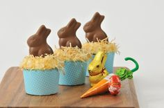 Adorable!  Lindt Easter Carrot Cupcakes, recipe here: http://sassisamblog.com/2012/04/03/its-easter-and-its-time-for-our-lindt-chocolate-recipes-lindt-easter-carrot-cupcakes-orange-semolina-syrup-cake/