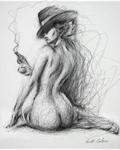 Nude figurative ink sketch by Erick centeno