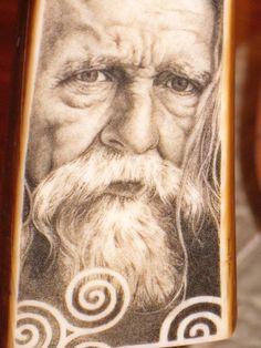 """""""Merlin""""  scrimshaw done by Darrel Morris"""
