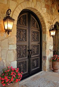 58 Ideas Front Door Design Grand Entrance Spanish Style For 2019 Mediterranean Front Doors, Modern Mediterranean Homes, Mediterranean Architecture, Home Design, Home Interior Design, Exterior Design, Stone Exterior, Design Ideas, Blog Design