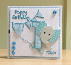 First Birthday Card, Handmade - Marianne elephant die. For more of my cards please visit CraftyCardStudio on Etsy.com.