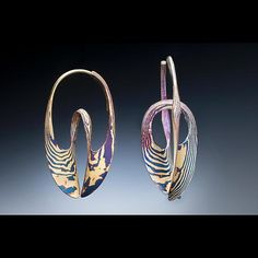 Small Mokume Gane Continuum Hoop Earring by Stephen LeBlanc: Gold and Silver Earrings available at www.artfulhome.com