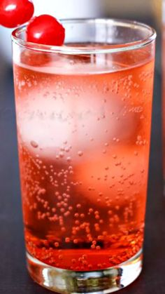 Dirty Shirley Recipe ~ lemon lime soda, vodka, splash grenadine, ice, cherries for garnish