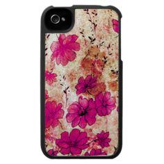 Pink Grunge Flowers iPhone 4 Cases