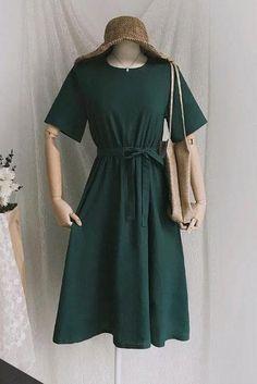 6f7f4b6f4ab womens midi linen dress with round neckline B002