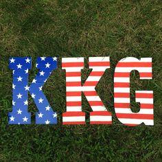 Made this for my little! KKG America letters. Sorority crafts. Kappa kappa gamma. University of South Carolina (Emily Engoron)