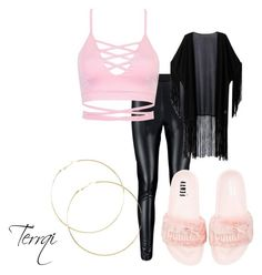 """Pink fenty"" by terrqi on Polyvore featuring moda, WithChic i Puma"