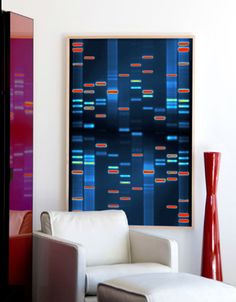 DNA Art - we want to do this for the girls. Kind of pricey - but its you can have both you and your husband's DNA printed on canvas for their baby room for a modern look and something they can keep forever.