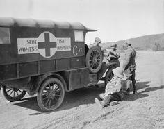 WWI, Oct Eastern Front: A motor ambulance of the Scottish Womens Hospital broken down on a hill road. Ambulance, World War One, First World, War Novels, Emergency Vehicles, War Machine, Wwi, Fire Trucks, Military Vehicles