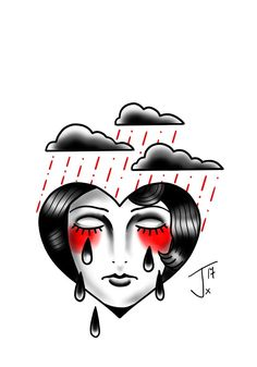 Sad... #cryingheart #sadgirl  #tattooflash #traditionaltattoo #oldschooltattoo #tattooflash #digitalpainting #autodesksketchbookpro #wacom #wacomart #olomouctattoo