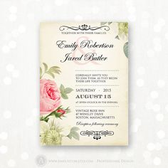 Printable Wedding Invitation Pink Roses Vintage Weddings Invite - INSTANT DOWNLOAD - EDITABLE Template - Retro Flowers