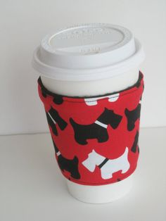 Coffee Cup Cozy  Scottie Dogs by BlueRoomCreation on Etsy, $3.50