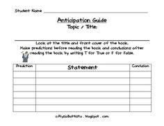 Blank Anticipation Guide Template Editable C Ile Web E ...