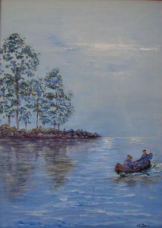 Pintura al óleo de un paisaje fluvial. Canoa por LandscapeOfTheSoul                                                                                                                                                                                 Más
