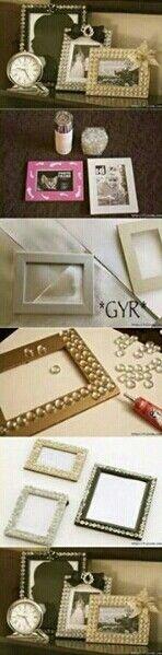 marco de cuadro reciclado con gemas