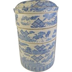 This Japanese Edo Period ko-Imari Inban blue transferware on white porcelain multi-tiered box is also called a jubako in Japanese. see more at the Many Faces of Japan on Ruby Lane....One more of these to come, and then another!