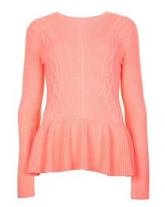 Rib detail peplum sweater - Coral | Sweaters | Ted Baker