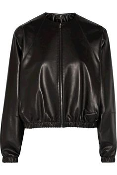 The Row Leather Bomber Jacket in Black